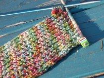 half-finished seeded rib stitch scarf