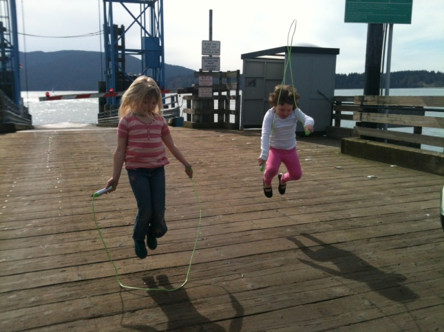 jumping rope on the ferry dock