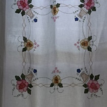 appliqued tablecloth curtain