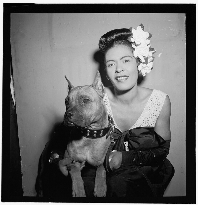 Miss Billie Holiday and her dog, Mister
