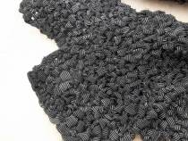 a close up of the black and white scarf