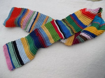 a garter stitch scarf, made from embroidery thread