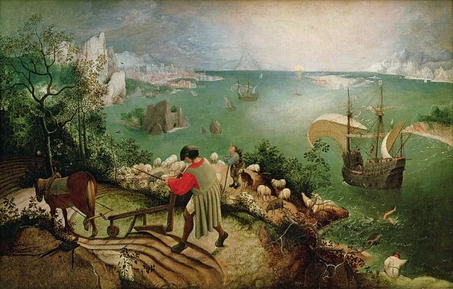 """Landscape with The Fall of Icarus"", ca. 1590-95, by Pieter Breugel the Elder"